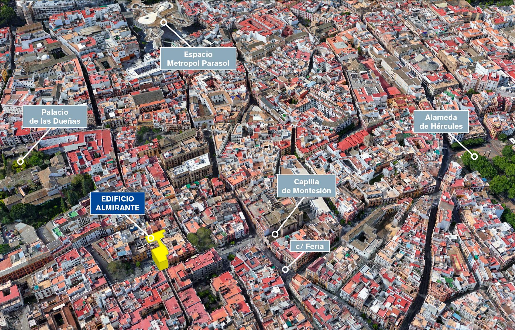 Situación del Edificio Almirante, Sevilla